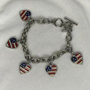COOKIE LEE Charm Bracelet | American Flag Hearts
